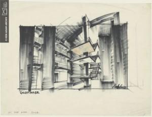 Entwurf für GOLDFINGER (JAMES BOND 007 – Goldfinger) GB/USA 1964, Regie: Guy Hamilton © Deutsche Kinemathek – Ken Adam Archiv